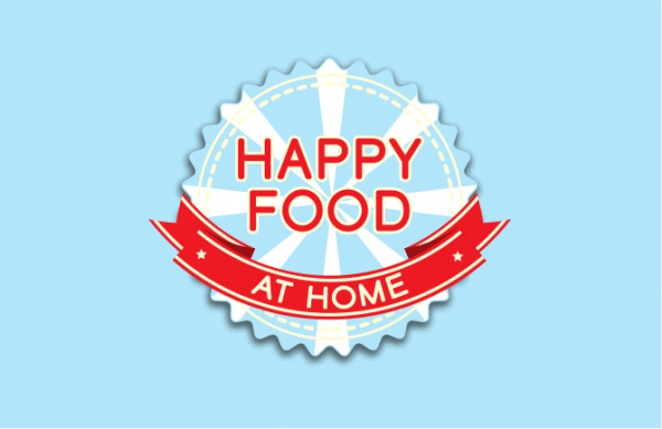 text happy food at home logo
