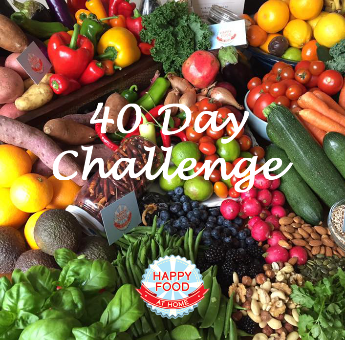 Image of fruit and veg with text containing 40 day challenge